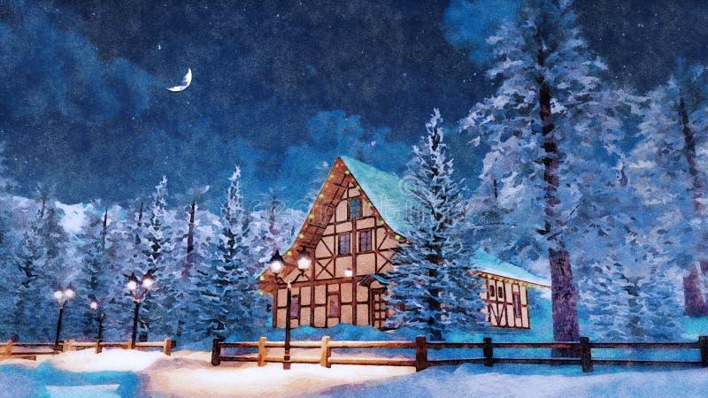 Maison alpine la nuit neigeux hiver dans l'aquarelle images libres de droits