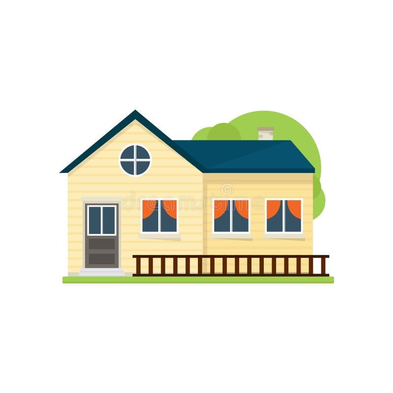 Maison américaine jaune mignonne avec la barrière en bois près de l'herbe illustration de vecteur