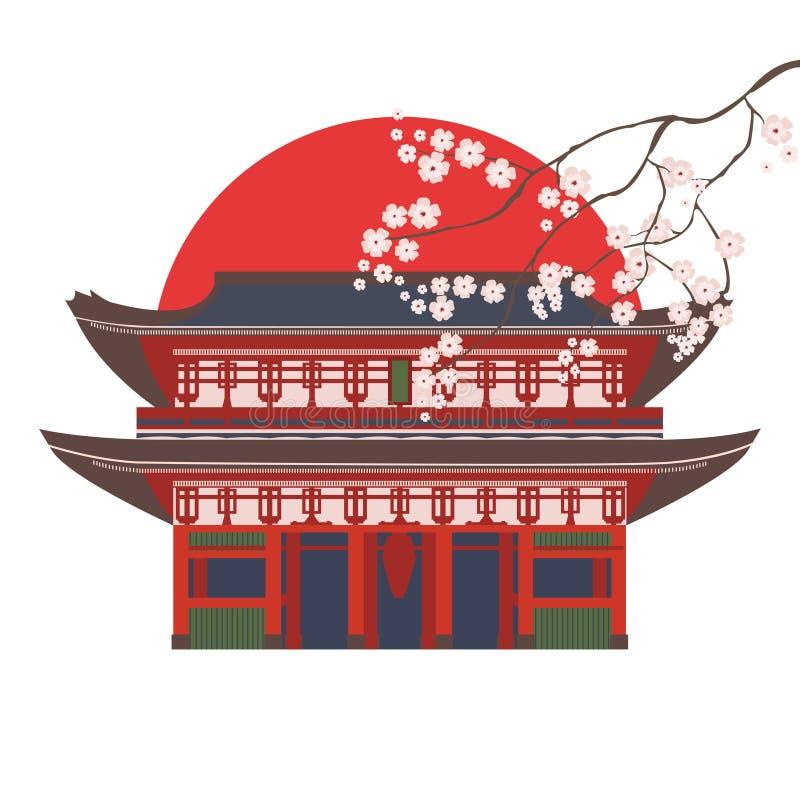 Maison asiatique traditionnelle avec l'illustration de vecteur d'isolement par couleur de cerise de fleur illustration de vecteur