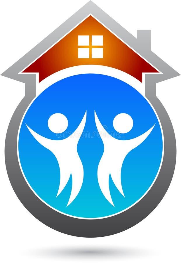 Maison avec des personnes illustration libre de droits