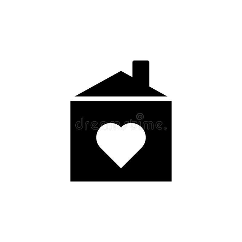maison avec l'icône d'amour Élément d'icône de voyage pour les apps mobiles de concept et de Web La ligne mince maison avec l'icô illustration de vecteur