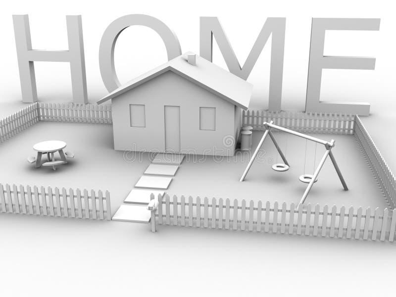 Maison avec la Chambre 2 illustration stock
