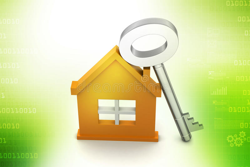 Maison avec la clé illustration de vecteur