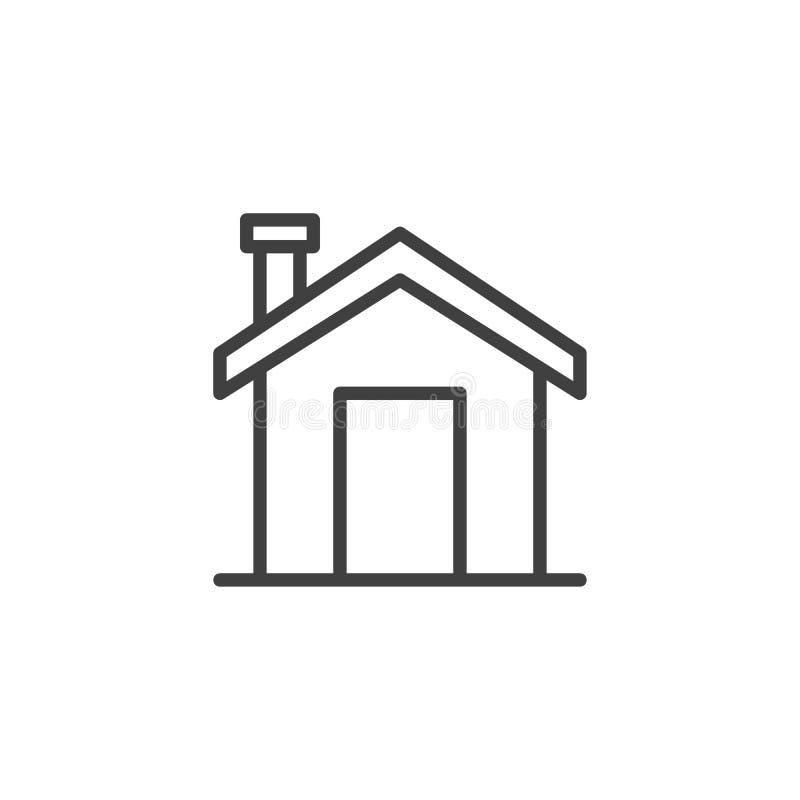 Maison avec la ligne icône de cheminée illustration de vecteur