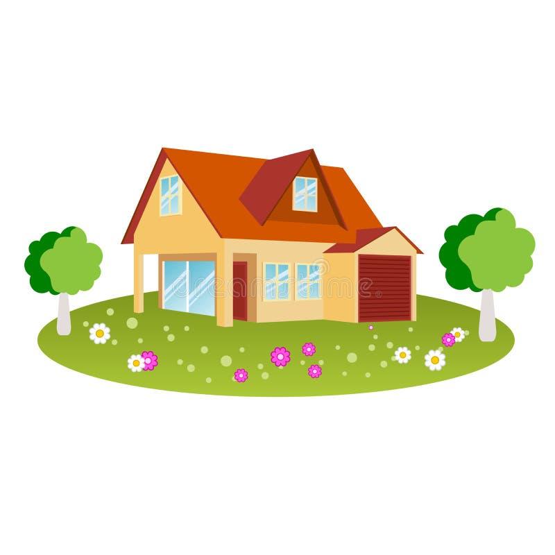 Maison avec le jardin illustration stock