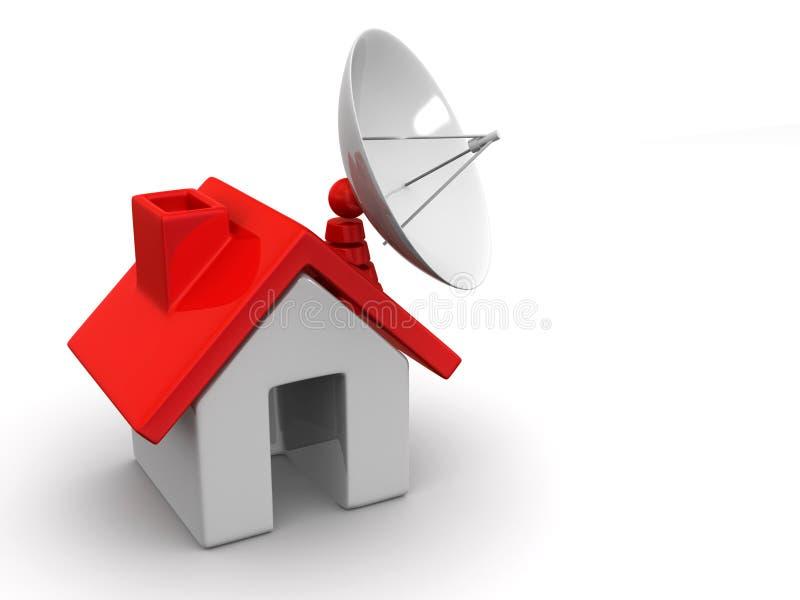Maison avec le satellite illustration stock