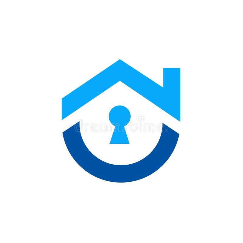 Maison avec le symbole de trou de la serrure, logo de vecteur illustration libre de droits