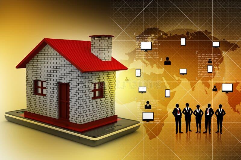 maison avec le téléphone intelligent illustration stock