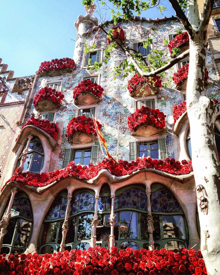 Maison Batllo Barcelone Gaudi, roses image stock