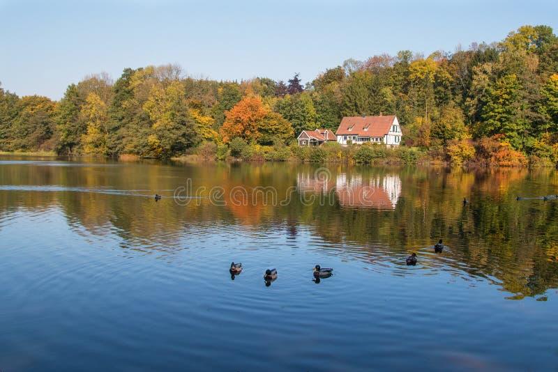 Maison blanche au lac photo stock