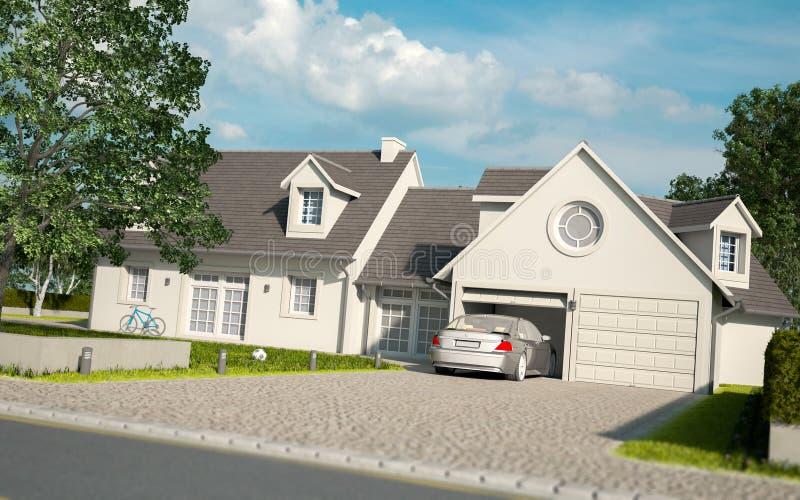 Maison blanche dans les banlieues illustration stock