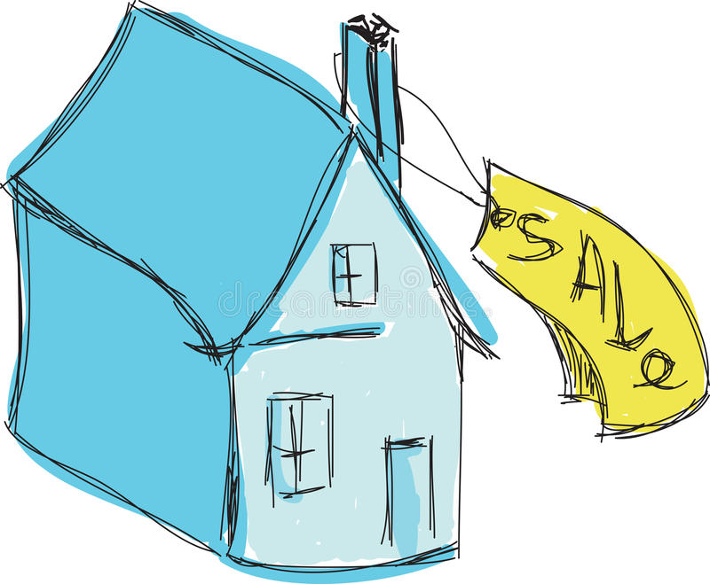 Maison bleue colorée tirée à vendre illustration de vecteur