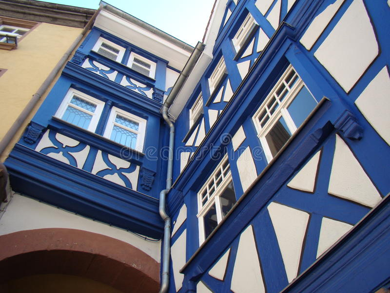 Maison bleue de Fachwerk image stock
