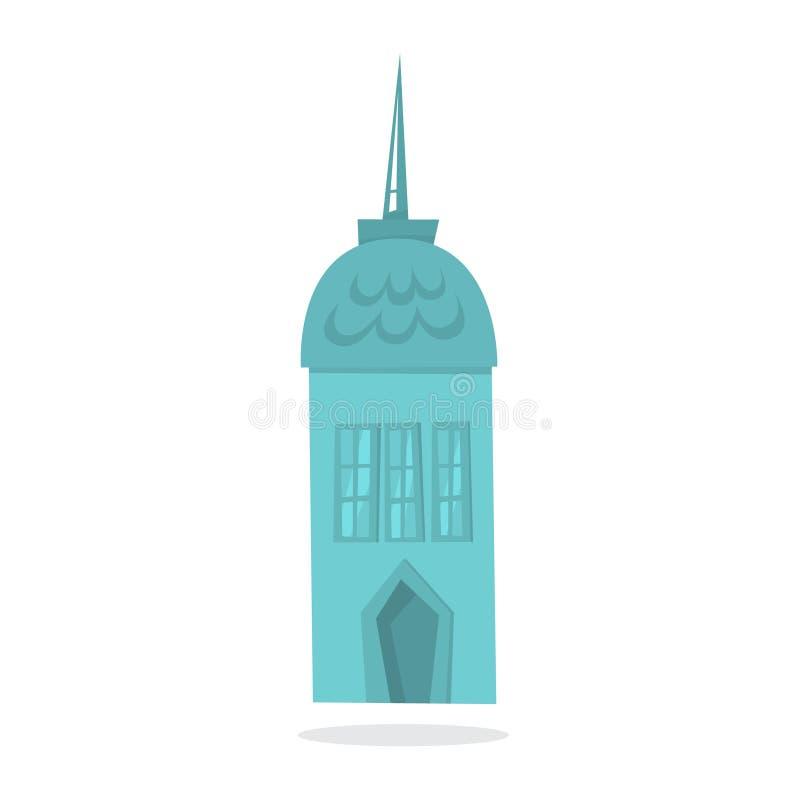 Maison bleue de papier de Noël Bâtiment mignon appartement illustration libre de droits