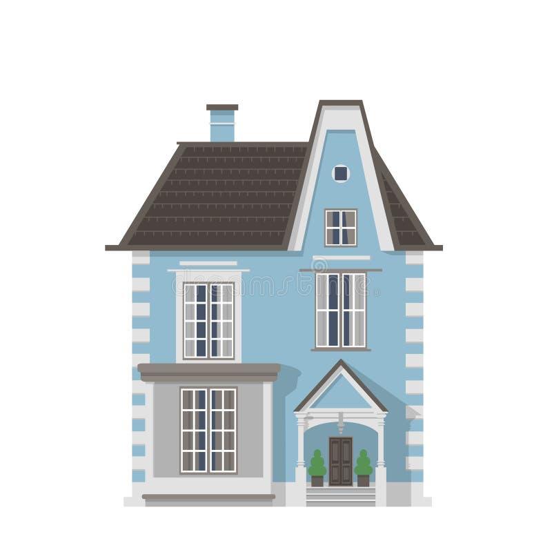 Maison bleue victorienne de village illustration stock