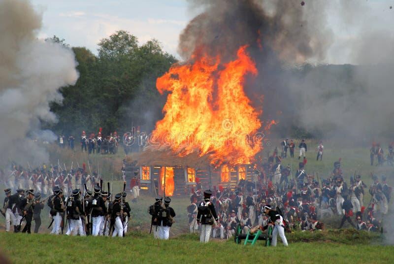 Maison brûlante Rétablissement de Borodino photos libres de droits