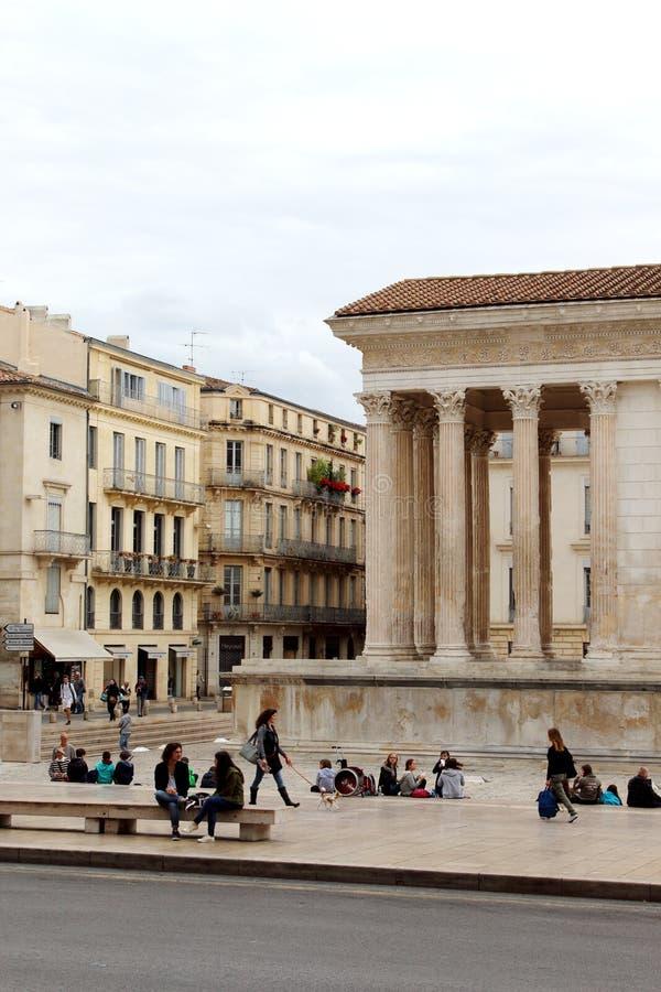Maison Carrée,罗马寺庙在Nîmes,法国 免版税库存照片
