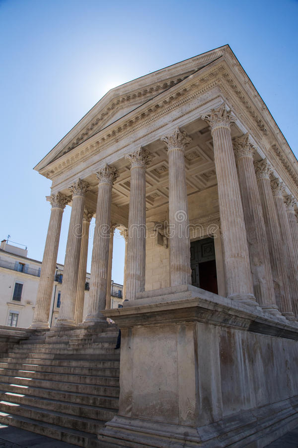 Maison Carrée. The Maison Carrée is an ancient building in Nîmes, southern France; it is one of the best preserved Roman temples to be found anywhere in royalty free stock images