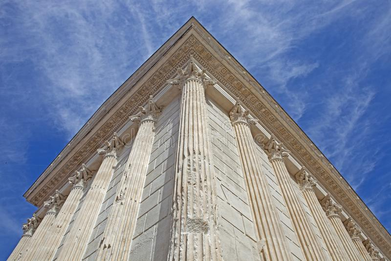 Maison-Carrée, Roman temple at Nîmes, France. One of the most beautiful and well-preserved temples of the Roman world, the Maison Carrée `Square House` royalty free stock image
