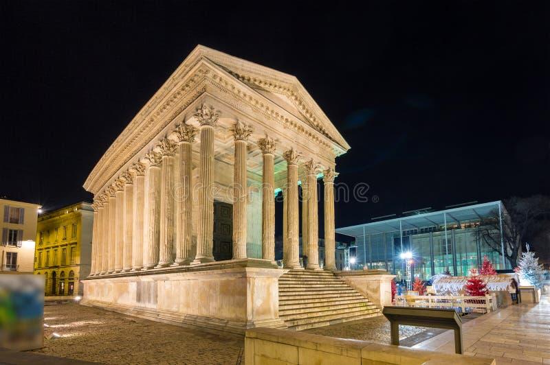 Maison Carree,一个罗马寺庙在尼姆,法国 库存照片