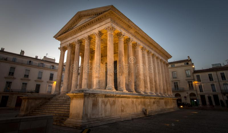 Maison Carree, Nimes. Ancient Roman construction, Maison Carree in Nimes, France stock photo