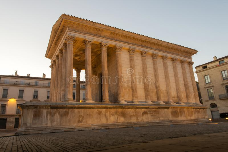 Maison Carree, Nimes. Ancient Roman construction, Maison Carree in Nimes, France stock images