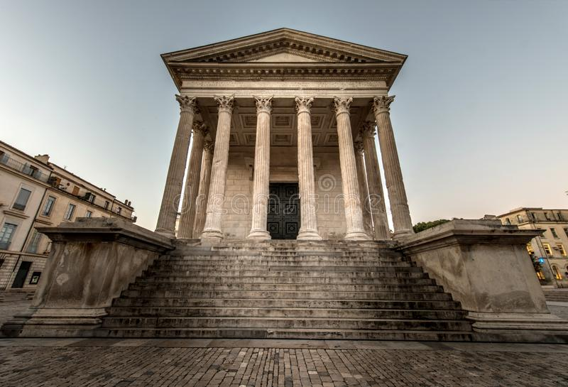 Maison Carree, Nimes. Ancient Roman construction, Maison Carree in Nimes, France stock image