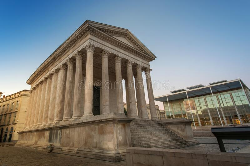 Maison Carree, Nimes. Ancient Roman construction, Maison Carree in Nimes, France royalty free stock photos