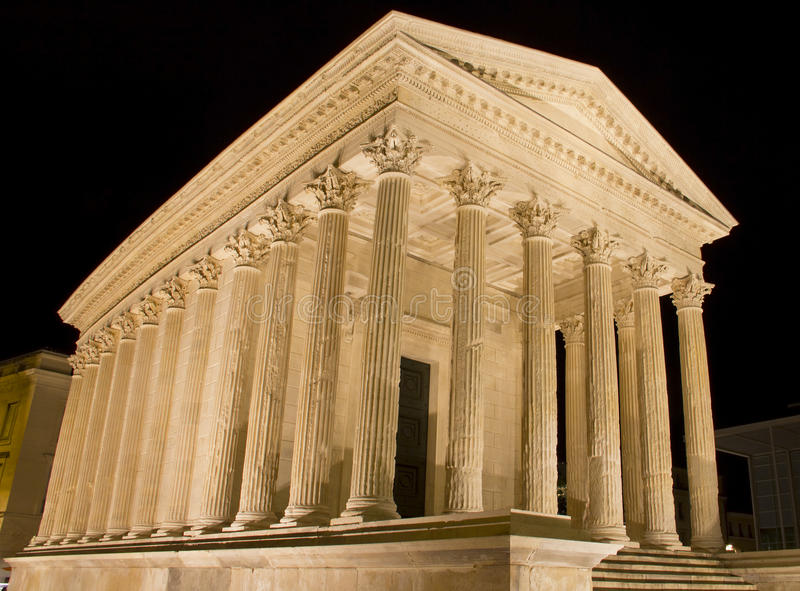 The Maison Carree, Roman temple in Nimes. Southern of France stock photo
