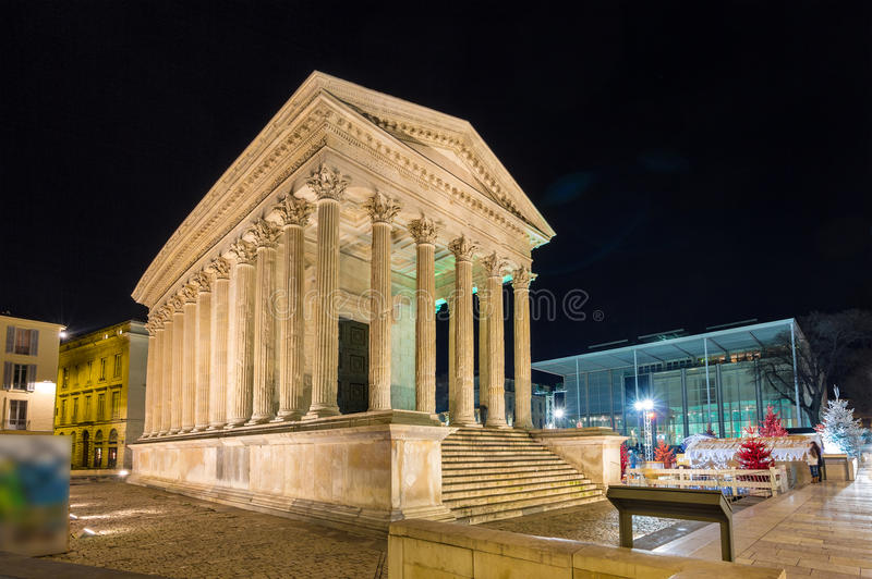 Maison Carree, a Roman temple in Nimes, France.  stock photos