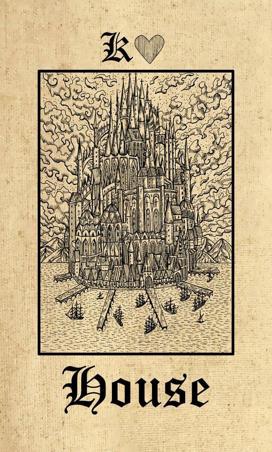 Maison Carte de tarot de plate-forme gothique d'oracle de mystères de Lenormand illustration libre de droits