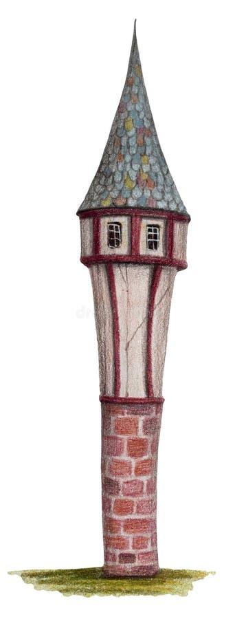 """Maison colorée de dessin au crayon - """"tour de magicien """" illustration de vecteur"""