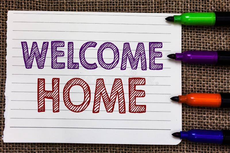 Maison conceptuelle d'accueil d'apparence d'écriture de main Entrée de présentation de natte de domicile de nouveaux propriétaire photo libre de droits