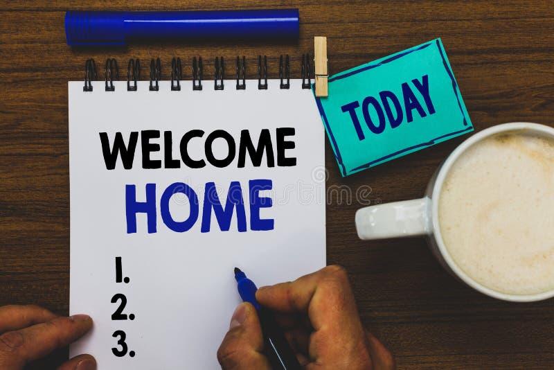 Maison conceptuelle d'accueil d'apparence d'écriture de main Holdi d'homme d'entrée de natte de domicile de nouveaux propriétaire image libre de droits