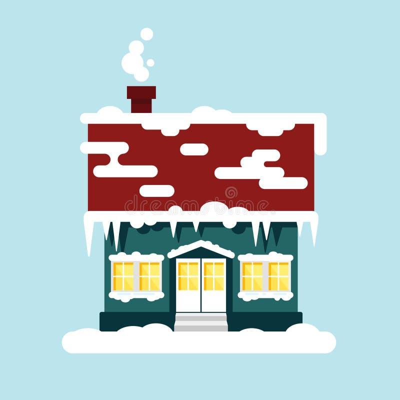 Maison confortable d'hiver d'isolement Temps de Noël, bonne année - illustration de vecteur Paysage urbain de ville plate de neig illustration de vecteur