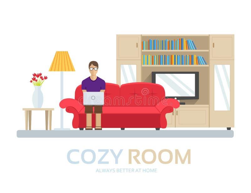 Maison confortable dans le concept plat de fond de conception Le type s'asseyant sur le divan dans la chambre et autour des meubl illustration stock