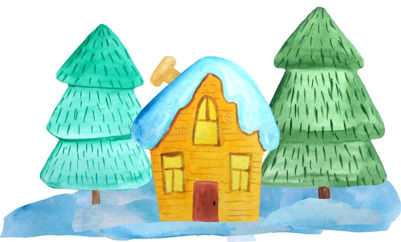 Maison confortable de Noël dans une forêt neigeuse sur un fond blanc illustration d'aquarelle pour des affiches, bannières Invita image libre de droits