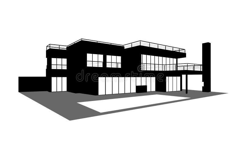 Maison contemporaine avec une silhouette de piscine illustration libre de droits