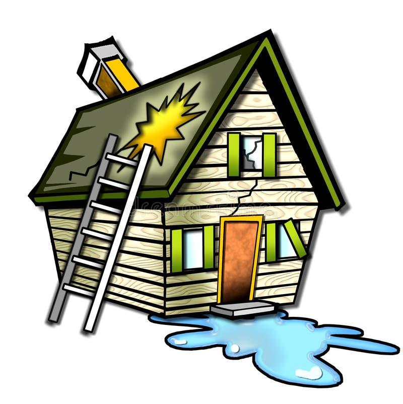 Maison détruite de dessin animé illustration de vecteur