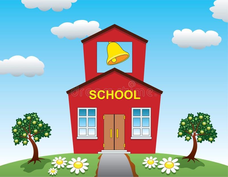 Maison d'école et pommiers illustration libre de droits
