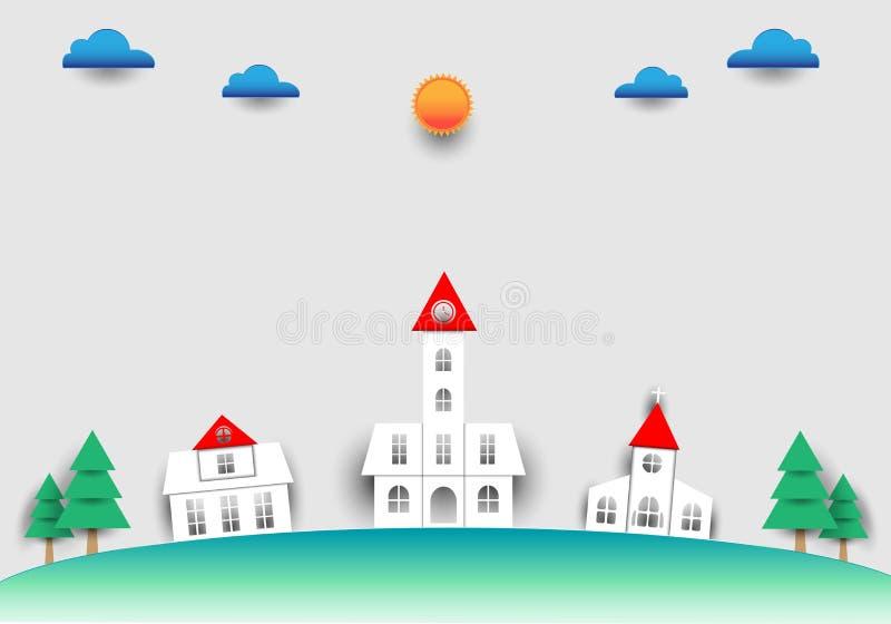 Maison d'été avec un nuage du soleil sur une coupe de papier photos stock