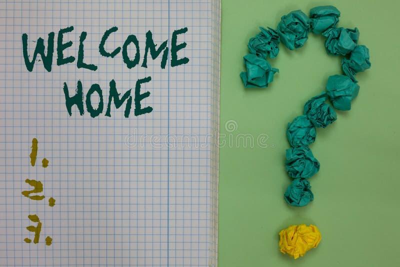 Maison d'accueil d'apparence de signe des textes Le papier conceptuel de carnet d'entrée de natte de domicile de nouveaux proprié photo libre de droits