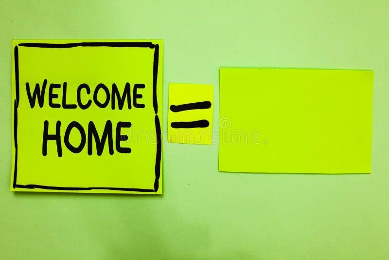 Maison d'accueil des textes d'écriture de Word Le concept d'affaires pour le Livre vert d'entrée de natte de domicile de nouveaux photo stock