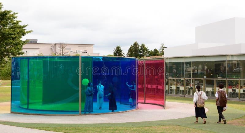 Maison d'activité de couleur Mus?e du 21?me si?cle d'art contemporain Kanazawa japan photographie stock libre de droits