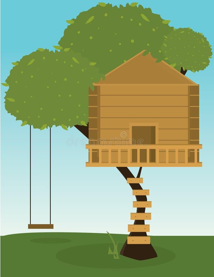 Maison d'arbre avec l'oscillation illustration libre de droits
