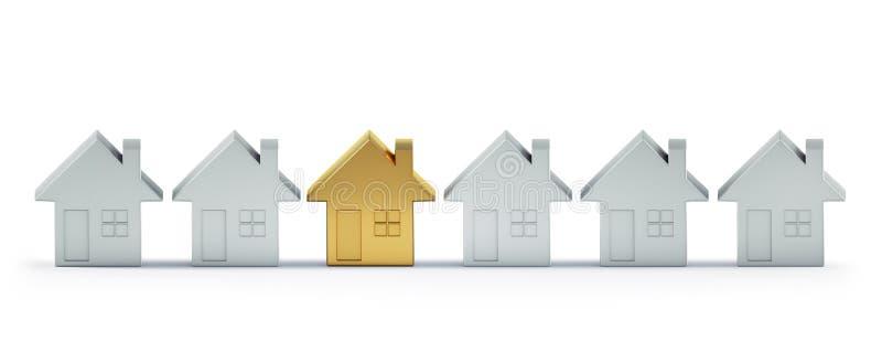 Maison d'or de jouet entre les maisons blanches illustration stock