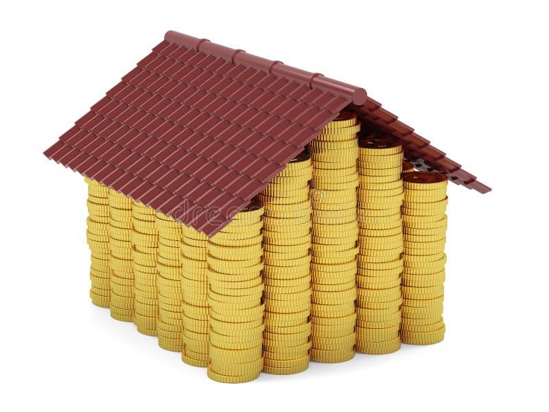 Maison d'or de pièces de monnaie d'isolement sur le fond blanc illustration libre de droits