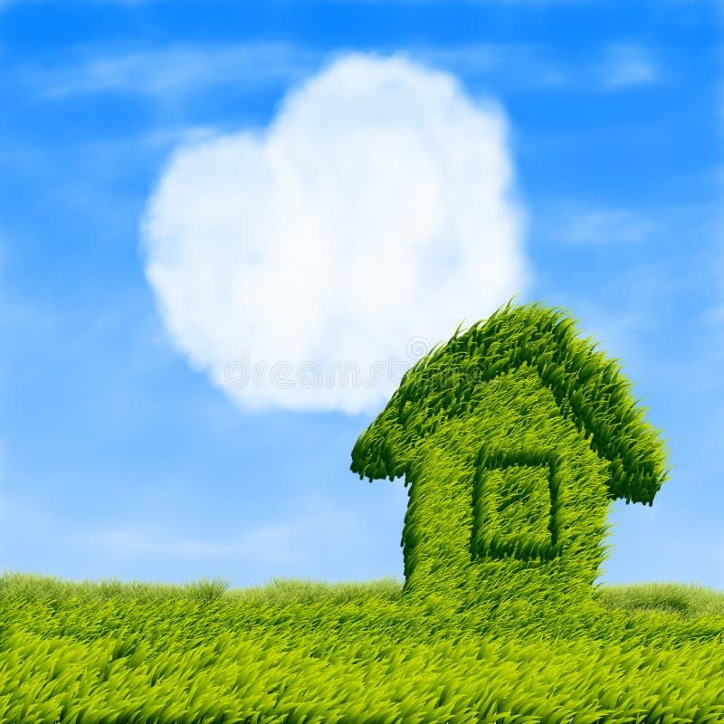 Maison d'Eco et coeur de nuage illustration libre de droits