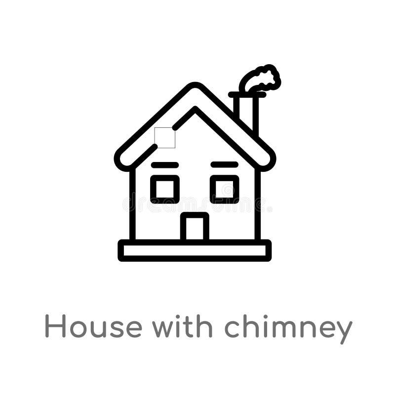 maison d'ensemble avec l'icône de vecteur de cheminée ligne simple noire d'isolement illustration d'élément de concept de bâtimen illustration de vecteur