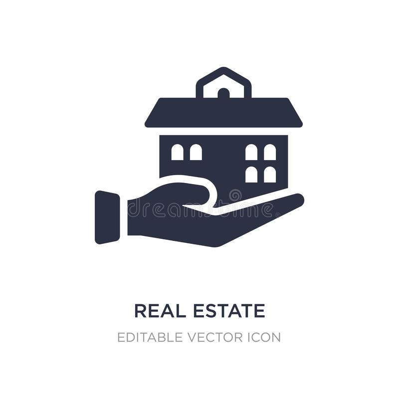 maison d'entreprise immobilière sur une icône de main sur le fond blanc Illustration simple d'élément de concept d'affaires illustration stock